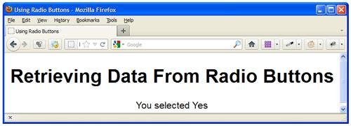 Retrieving Data From Radio Button