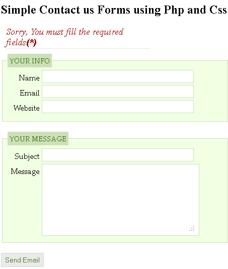 Sample Contact Us Form Using PHP