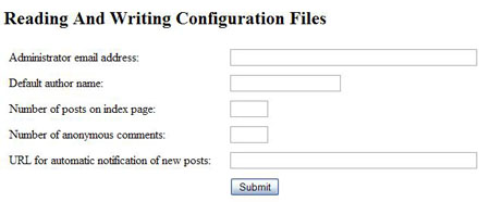 Create a Configuration file using php
