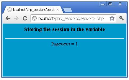 Storing a session variable in php