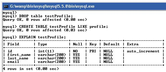Create Table from another table without copy its values using mysql query