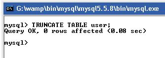 truncate table using mysql query