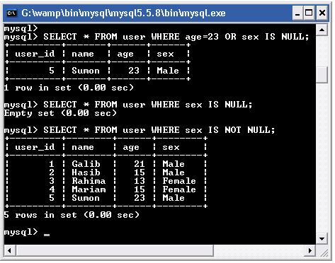 mysql null value