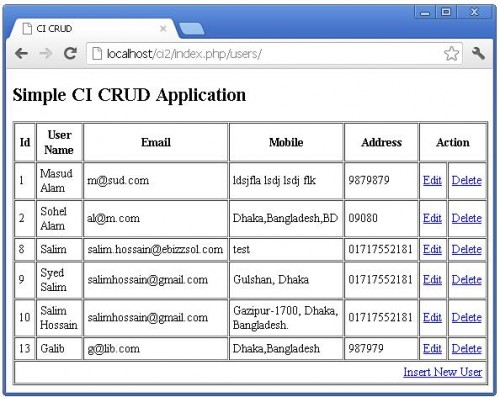 Codeigniter Crud with Actions