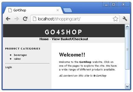 PHP Shopping Cart Home page
