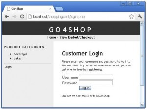 PHP Shopping Cart Login Form