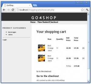 Displaying shopping cart summery using php