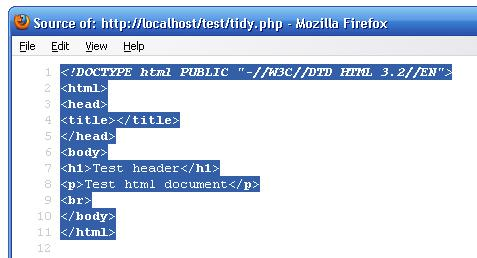 PHP Tidy Output