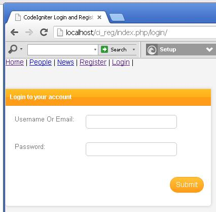 CodeIgniter Login Form