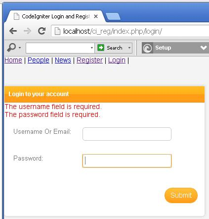 CodeIgniter Login Validation