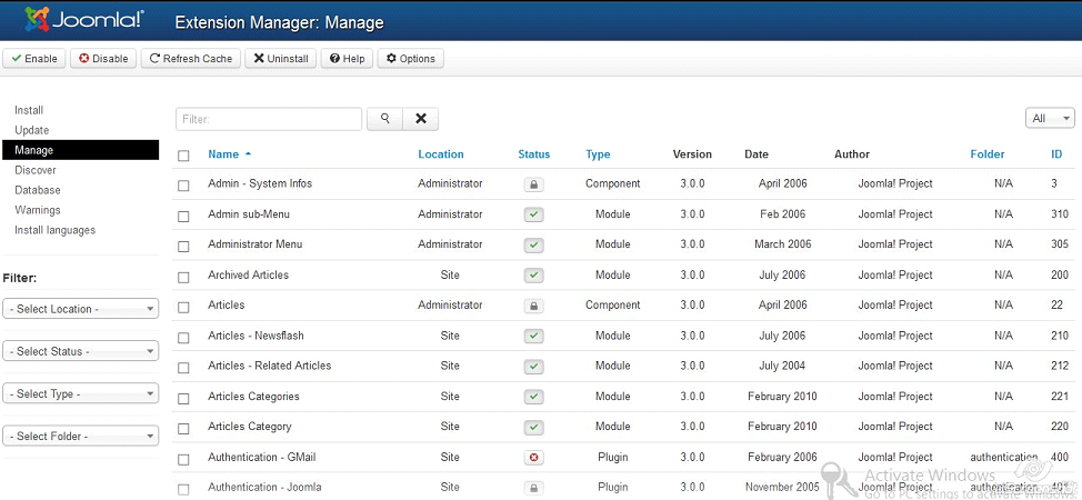joomla 3.0 extension manager update