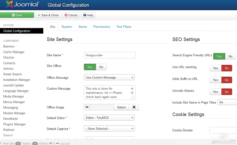 joomla 3.0 global configuration