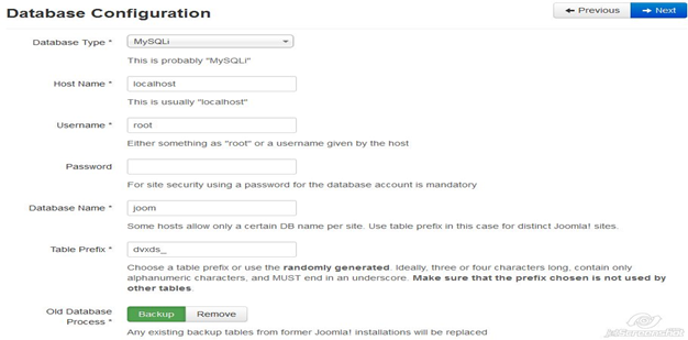 Joomla 3.x Database Settings