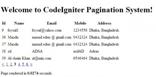 CodeIgniter Pagination Result