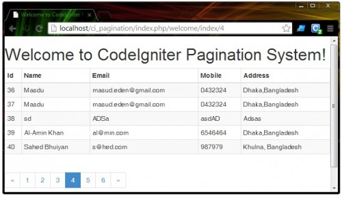 Twitter Bootstrap Pagination With CodeIgniter