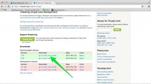 Core Drupal Download Page