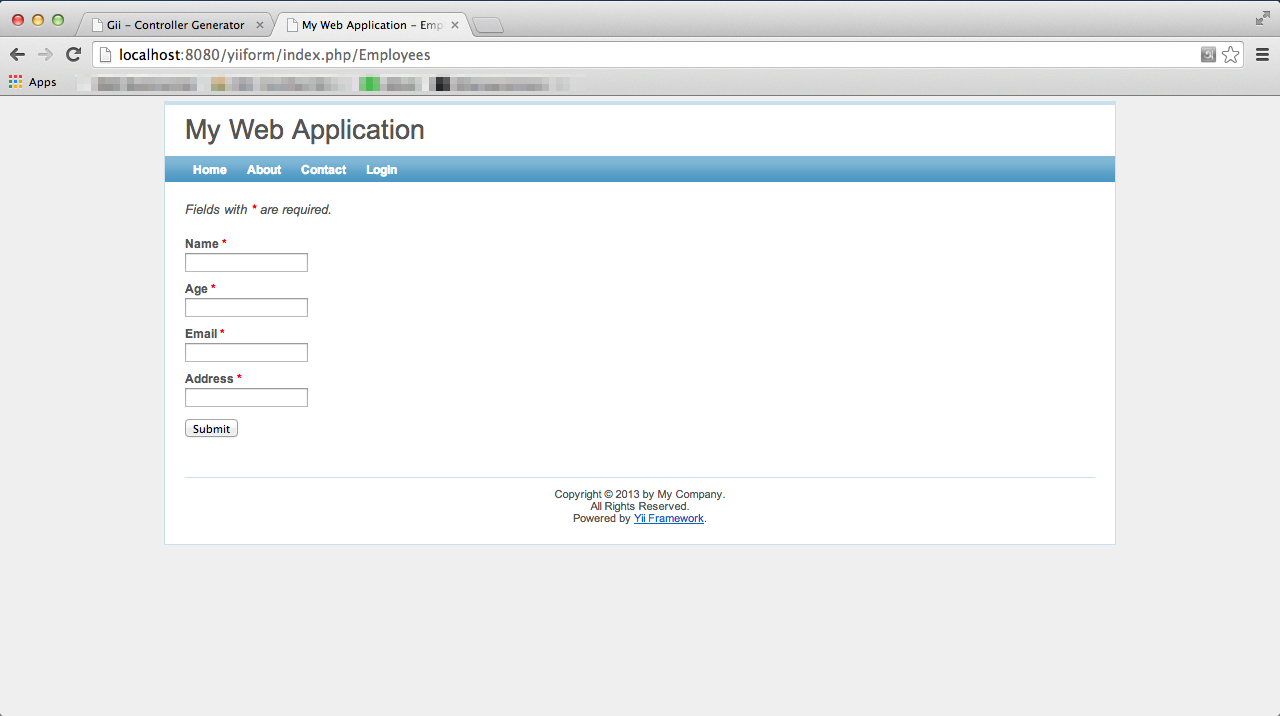 Client Side Form Validation with Yii Framework