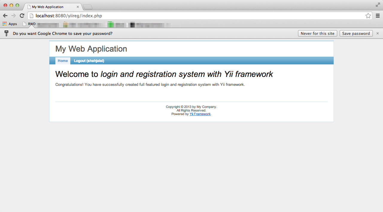 Build a full featured login and registration system with yii login success malvernweather Gallery