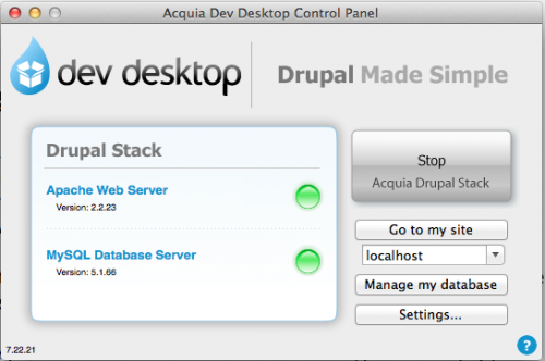 Acquia Drupal Desktop Control panel