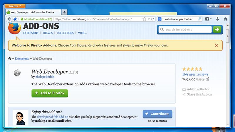 Web Developper Addon Page