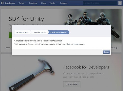 Facebook Developer Registration Process Step Final