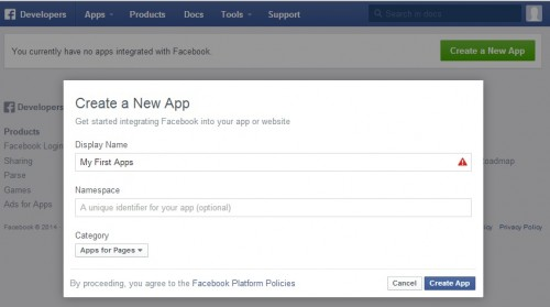 Creating a new application details