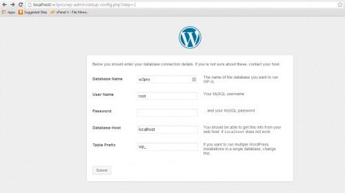 First Step WordPress installation