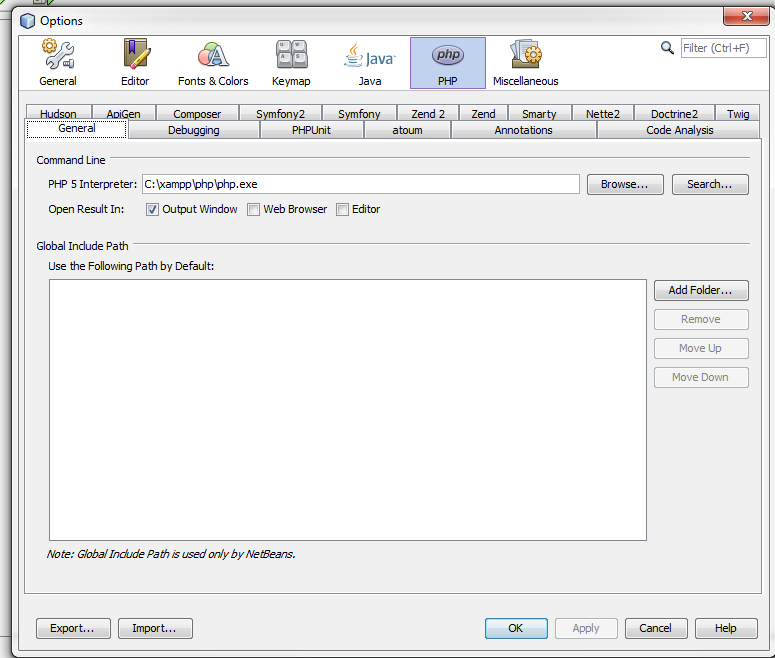 Connect PHP Interpretor with Netbeans