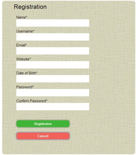 JQUERY Registration Form