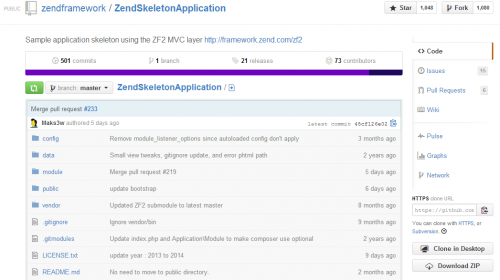 Zend Framework 2 Skeleton Application