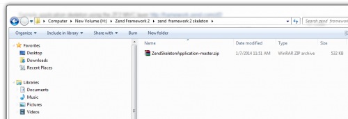 zend skeleton in folder