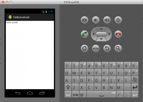 HelloAndroid on Emulator