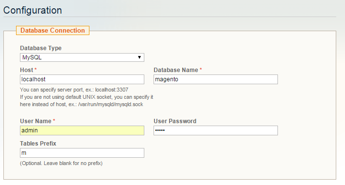 Magento Database Connection