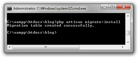 PHP Artisan Install Migration